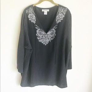Diane Von Furstenberg Tops - Silk Accents by DVF Black Top White Embroidery SzL